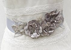 Bridal Sash-Wedding Sash In Platinum Grey And Silver, Beaded, Crystals, Beaded…