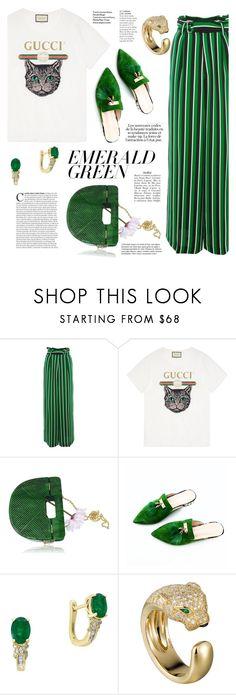"""Emerald Green  #2"" by alexa-anita2010 on Polyvore featuring Topshop, Gucci, Effy Jewelry, Yves Saint Laurent, KAROLINA, Amica and emeraldgreen"