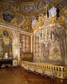 The bedchamber of Marie-Antoinette restored. Versailles.