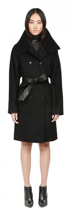 TANSY | BLACK BELTED DOUBLE FACE WOOL COAT  FOR WOMEN | MACKAGE