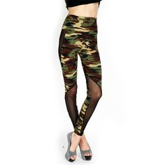 FallFor Mesh and Camo Leggings ($9.90) ❤ liked on Polyvore featuring pants, leggings, camo print leggings, camo pants, camouflage pants, white pants and camoflauge pants