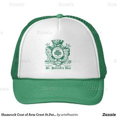 Celtic Shamrock Crest Design St. Patrick's Day Hats with personalized year. Matching cards and other products available in the Holidays / St.Patrick's Day Category of the artofmairin store at zazzle.com