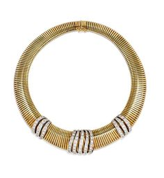 Mann's Jewelers A gold gaspipe necklace of tapering design with three ribbed diamond segments, in 14K gold, set with approx. 6.93 ct. tw. diamonds. Italy