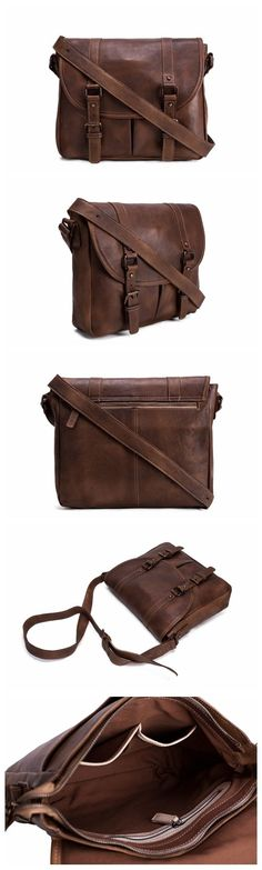 Handmade Vegetable Tanned Leather Men's Messenger Bag, Crossbody Bag, Shoulder Bag, Satchel Bag