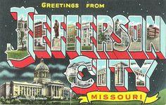 Greetings From Jefferson City Missouri Linen Vintage Postcard Unused