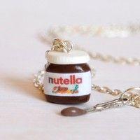 Wish | Nutella necklace kawaii chocolate miniature Polymer clay sweet dessert