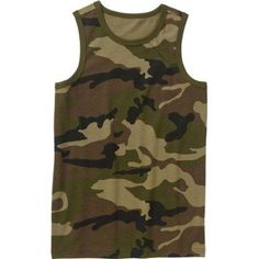 Faded Glory Boys' Sleeveless Graphic Camo Tank Top, Size: 14/16, Green