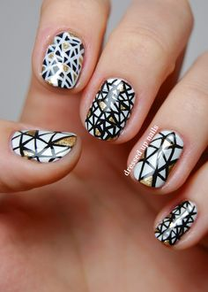 Dressed Up Nails - black and white triangle nail art; black white and gold geometric nail art
