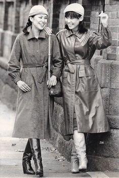 Twitter 70s Fashion, Fashion Boots, Korean Fashion, Vintage Fashion, Womens Fashion, Ashley Vee, Black Raincoat, Vintage Boots, Fashion Project