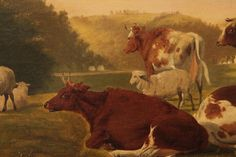 Fine Antique British School Oil Painting on Canvas Landscape, Cows at Pasture