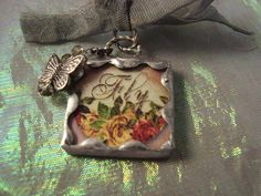 FLY  Soldered Glass Art Pendant by victoriacharlotte on Etsy, $10.00