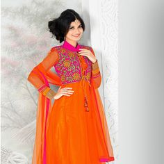 Dark Orange Net Anarkali Churidar Kameez