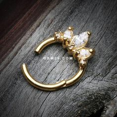 Golden Marquise Trio Sparkle Seamless Clicker Ring-Clear
