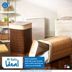 Participa eligiendo todo lo que necesitas para el baño de tu sueños. Podrás ganar 2 Gift Card de $100.000. #ConcursoSodimac #MiBañoIdeal Toilet Paper, Ideas, Shopping, Hampers, Interior Design, Home, Projects, Toilet Paper Rolls
