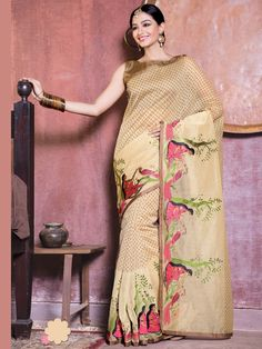 Exclusive cream color cotton supernet saree having resham embroidery. Item Code : SAX4047 http://www.bharatplaza.com/new-arrivals/sarees.html
