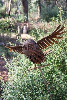 wonderful rusty garden junk art owl