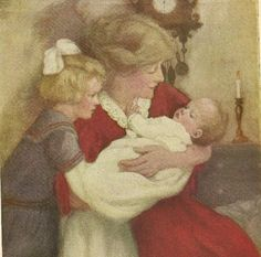 Nursery Art Vintage Color bookplate Mother and children at bedtime by TheOldBarnDoor,