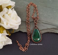 Malachite and Copper Pendant on a Handmade Copper Chain by JakdawGems on Etsy