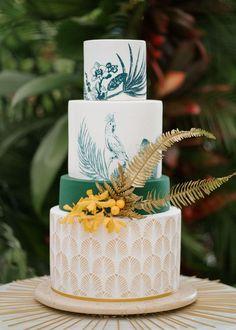 Unique wedding cake design with tropical bird design   Image by Raw Shoots Photography Wedding Costs, Budget Wedding, Wedding Blog, Destination Wedding, Dream Wedding, Unique Wedding Cakes, Wedding Cake Designs, Ceremony Backdrop, Wedding Ceremony