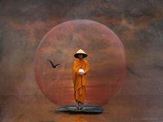 Waiting Monk by H Koppdelaney