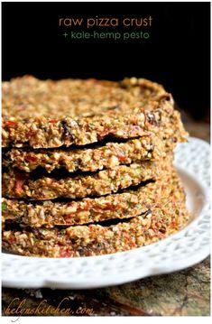 Raw Pizza Crust + Kale-Hemp Pesto from Raw Vegan Dinners, Raw Vegan Recipes, Vegan Foods, Vegan Dishes, Whole Food Recipes, Cooking Recipes, Freezer Recipes, Freezer Cooking, Drink Recipes
