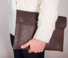 Brown Leather Portfolio and Laptop Sleeve