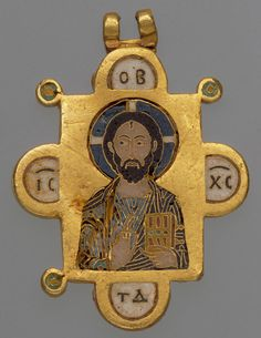 Double-Sided Pendant Icon with the Virgin and Christ Pantokrator, ca. 1080–1120  Byzantine; Made in Constantinople  Inscribed in Greek initials: Mother of God (front); Jesus Christ, King of Glory (back)