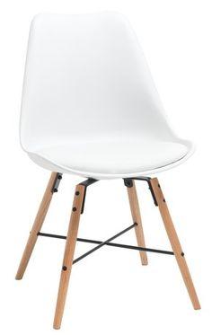 Matbordsstol KLARUP läderlook vit/ek | JYSK