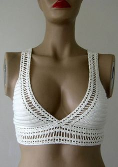 Crochet Cream Top, Cream Bikini Top, Women Bikini Top, Swimwear, Beach Wear, 2016 Trends  !!! FORMALHOUSE