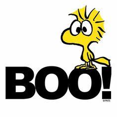 """BOO!"" Woodstock on Halloween."