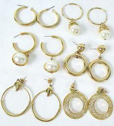 LOT~ 6 HIGH QUALITY Set SHINY GOLDTONE HOOP/DANGLE PEARL/CIRCLE PIERCED EARRINGS #Hoop