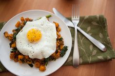 Sweet Potato and Kale Hash with a Fried Egg (cook the yoke)