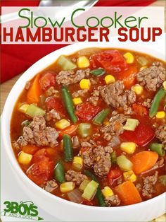 Hamburger Soup in the Slow Cooker is true Southern Comfort Food favorite that only takes about 15 minute to prepare for 8 hours of crockpot cooking! Slow Cooker Hamburger Soup, Crock Pot Slow Cooker, Slow Cooker Recipes, Hamburger Crockpot Recipes, Hamburger Vegetable Soup, Recipe For Hamburger Soup, Ground Beef Crockpot Meals, Vegetable Soup Crock Pot, Slow Cooker Ground Beef