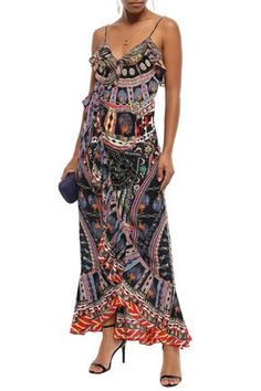 Shop on-sale Lady Lake embellished printed silk crepe de chine maxi wrap dress. Browse other discount designer Maxi Dress & more luxury fashion pieces at THE OUTNET Maxi Wrap Dress, Coat Dress, Jacket Dress, Camilla Clothing, Michael Kors Sale, Dresses For Sale, Summer Dresses, Denim Shop, Silk Crepe