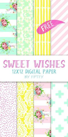 """Sweet Wishes 12 x 12 Digital Scrapbooking Collection [wpdreams_rpp Wishes Digital Paper: Hey there Lovelies! Time for another gorgeous digital paper collection! This """"Sweet Wishes"""" collection is and Exclusive Freebie (meaning it's availab Free Digital Scrapbooking, Digital Scrapbook Paper, Digital Paper Free, Printable Scrapbook Paper, Printable Paper, Digital Papers, Scrapbooking Freebies, Free Paper, Planners"""