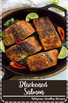 Blackened salmon with bold spices is a tasty dinner made in just 15 minutes! Apply a quick dry season blend to each fish fillet, then pan fry until a flavorful dark crust appears on the surface. It's that easy! Salmon Recipes, Fish Recipes, Seafood Recipes, Recipies, Salmon Food, Meat Recipes, Cooker Recipes, Chicken Recipes, Easy Healthy Dinners