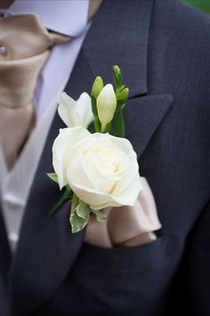 White Rose & Freesia Buttonhole