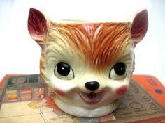 Vintage fox cup nursery storage woodland creature