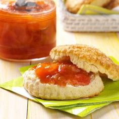 Peach Rhubarb Jam  ........  this would be a good jam to try to use up some of the rhubarb in my garden.