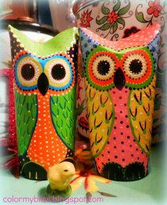 Color My Bliss: Toilet Paper Roll Owls - A Quick Peek at how I Create Mine!