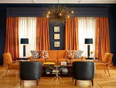 love this rich color palate. Bold orange sofa! Geoffery De Sousa interior design