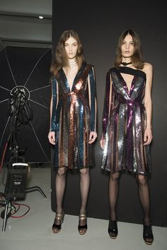 Sparkle twins, backstage at Rodarte Fall 2015 #nyfw
