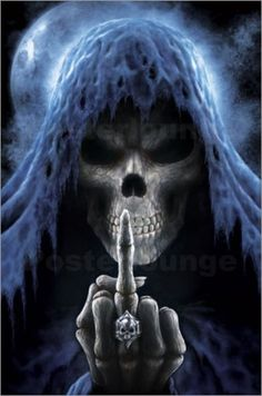 Grim reaper angel of death giving the finger poster