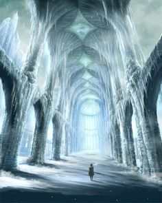 The Kingdom of Tonophria in the north is beneath the ice. Accessible by tunnels and hidden passages going down, there is nothing but an expanse of ice reminicent of Antartica above. Possibly one of th (Beauty Scenery Art) Fantasy Places, Fantasy World, Fantasy Artwork, Ice Castles, Fantasy Setting, Snow Queen, Ice Queen, Fantasy Landscape, Landscape Art