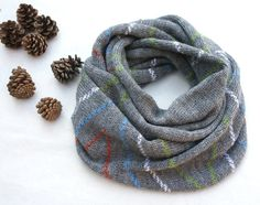 Mens infinity scarf grey wool snood unisex knit by KsyuKnitting