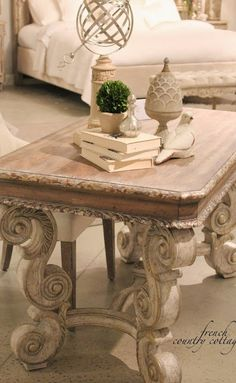 Beautiful French Country end table and accessories!  Very neutral but lovely!