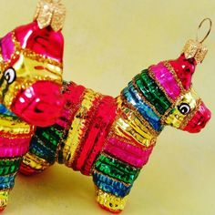 Let's have a party.  Mexican Pinata. Glass Christmas ornaments. www.vintagetreasures-ornaments.com