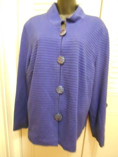 Coldwater Creek XL Royal Blue Lined Cotton Jacket  Mandarin Collar Large Buttons #ColdwaterCreek #SwingJacket
