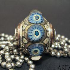 Focal Round Lampwork Glass Dot Bead Necklace Handmade AKDesigns Cornflower Starburst Bauble Pendant