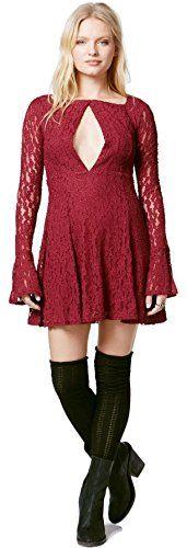 Free People Women's Lace Cutout Peasant Dress (Plumeria…